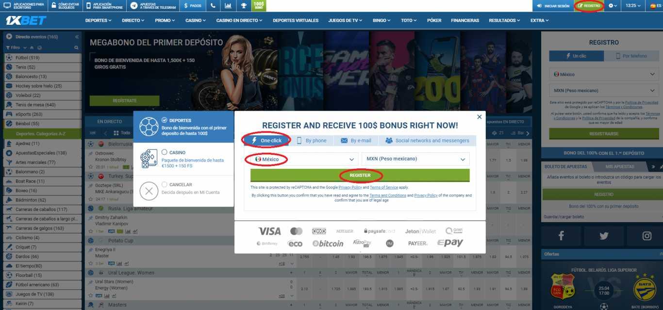 1xBet registration es un sistema único y novedoso